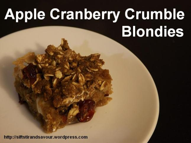 Apple Cranberry Crumble Blondies