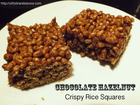 Chocolate Hazelnut Crispy Rice Squares
