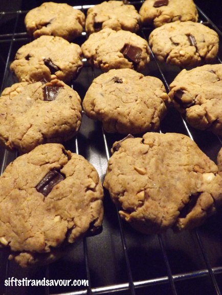 Chocolate Chunk Peanut Butter Cookies Cooling