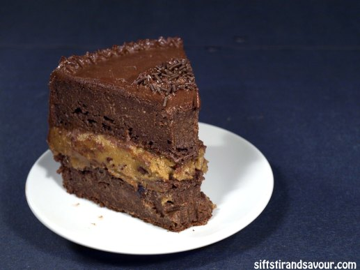 Piece of Double Chocolate Cookie Dough Cake