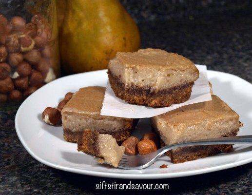 Hazelnut Pear Custard Bars