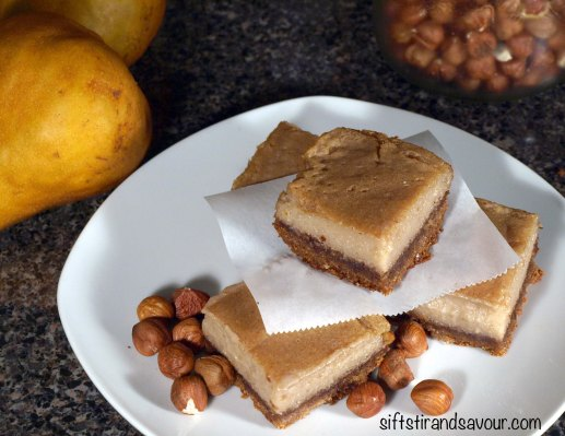 Hazelnut Pear Custard Bars