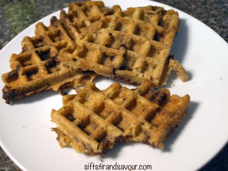Peanut Butter Chocolate Chip Waffles