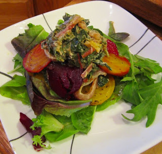 Swiss chard with beet flatbread
