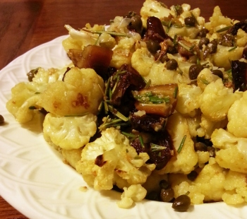 Roasted Cauliflower with Dates and Capers
